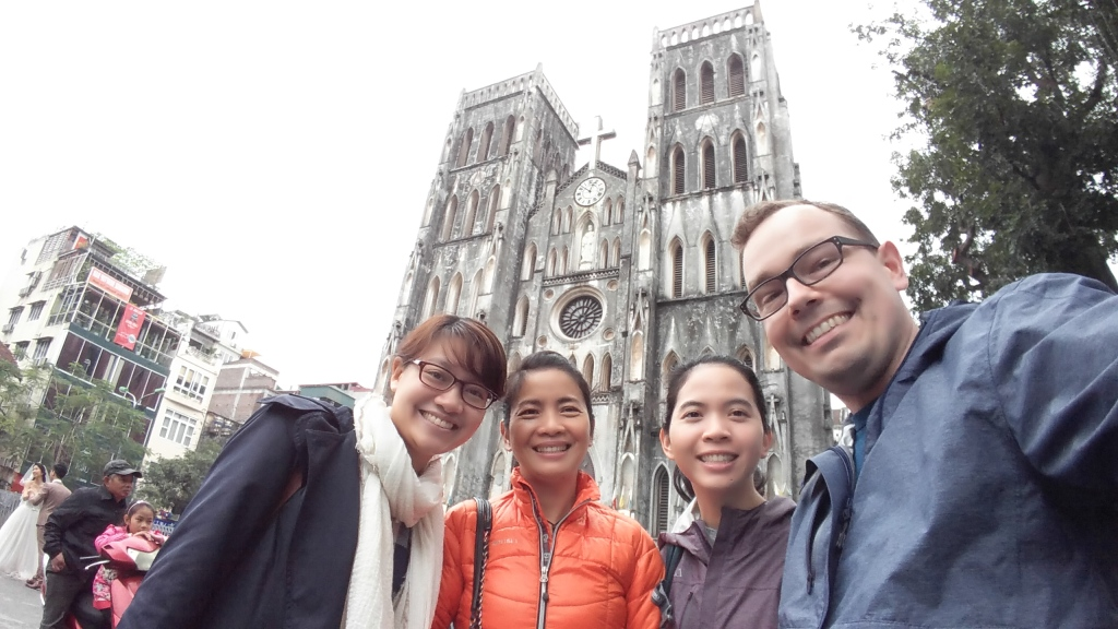 Thao, Mom, Q and I in front of St. Joseph's Cathedral